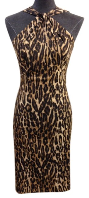 Item - Brown Tan Cream Label Leopard Halter Knee Length Night Out Dress Size 4 (S)