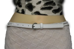 Banana Republic Belt Fashion Banana Republic Women Thin White Braided Faux Leather Narrow