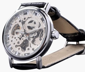 Portofino Automatic Men's Skeleton Watch With Fancy Silver Face-FREE SHIPPING