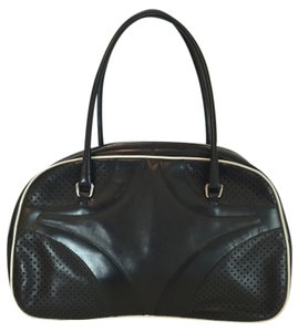 Prada Vitello Bowler Leather Vintage Handbag Satchel in Black