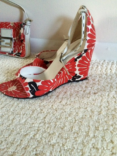 Fendi White Red and Black Sandals