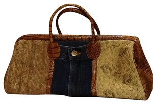 Clever Carriage Company Satchel in Brown Leather/denim/fabric