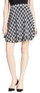 Joie Silk Tiered Plaid Mini Skirt black/white