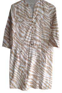 Michael Kors short dress Tan/white Tie Front Safari Style Cinches At Waist on Tradesy
