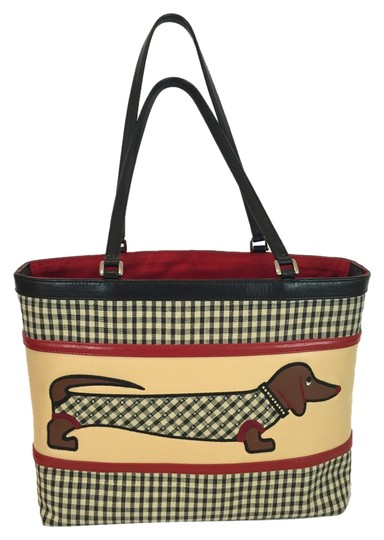 Preload https://img-static.tradesy.com/item/9856675/isabella-fiore-dachshund-checkered-black-leather-and-canvas-tote-0-1-540-540.jpg