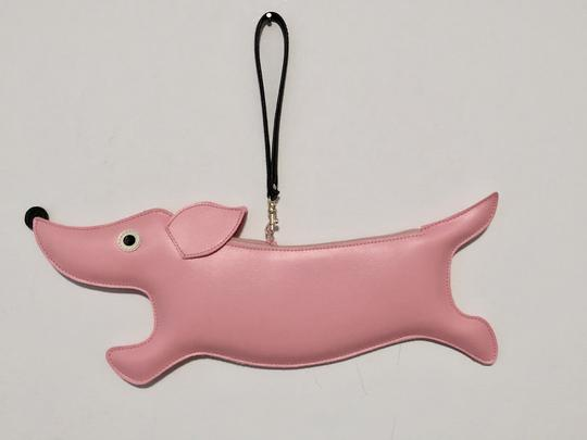 Patch NYC Leather Dachshund Pink Clutch