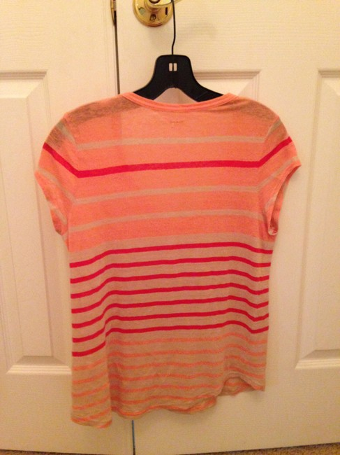 Madewell Vneck T Shirt coral stripe