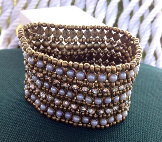 Other New Faux Pearl & Crystals Brass Stretch Cuff Bracelet