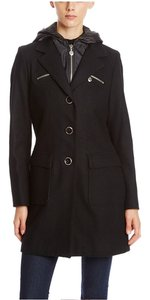 Betsey Johnson Wool Hooded Longsleeve Pea Coat