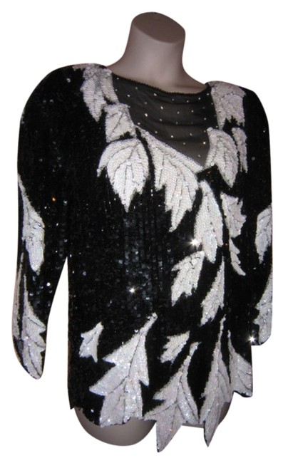 Item - Silk Fully Sequined Black/White Top
