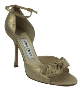 Jimmy Choo Gold Metallic Leather Light Gold Pumps