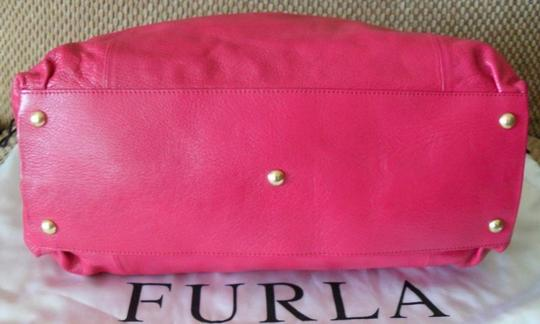 Furla Tate Pink Leather New Handbag Satchel in Fuchsia