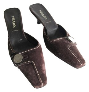 Prada Crocodile Career Work Classic Chocolate Brown Mules