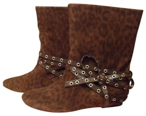 Juicy Couture Laura Animal-print Suede Mid Size 8 Size 8 M Dark Made In Italy Brown Boots