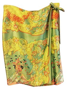Cynthia Rowley Wrap-around Silk Charmeuse Beaded Sequined Skirt Yellow and green