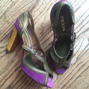 Prada Purple, Yellow and Taupe Sandals