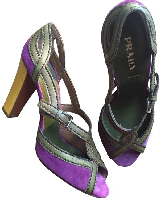 Item - Purple Yellow and Taupe Sandals Size US 8.5 Regular (M, B)