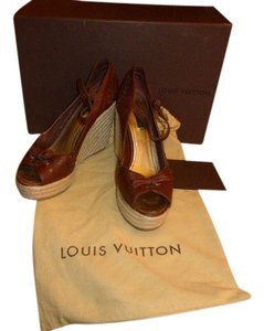 Louis Vuitton ESPADRILLE BROWN LEATHER TOP Platforms