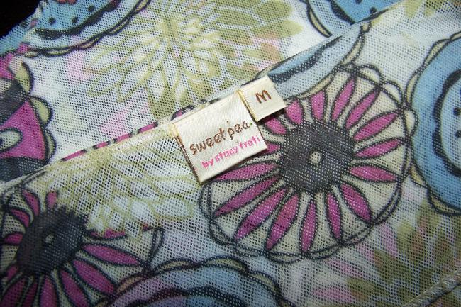 Sweet Pea by Stacy Frati Spaghetti Strap Mesh V-neck Trapeze Flutter Floral Top Multi