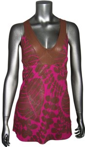 Sweet Pea by Stacy Frati Mesh Scoop Neck Sleeveless Sheer Fitted Top Fascia Brown