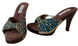 Steve Madden Teal with Gold Sequence Sandals