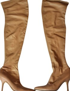Roberto Cavalli Leather Stretch Leather Camel Boots