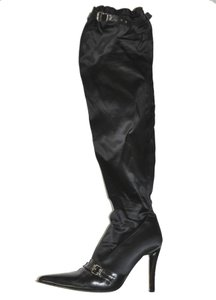 Gianni Barbato Leather Over The Knee Thigh High Stretch Satin Satin Black Boots