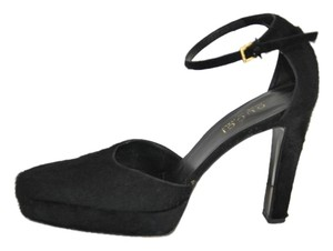 Gucci Pony Hair Platform Black Sandals