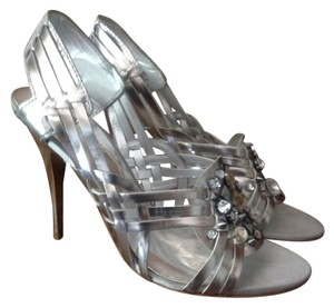 Guess By Marciano Silver Studded Gladiator Silver/ Metallic Pumps