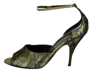 Brian Atwood Gold Leather Black Lace Slingbacks Size 39 Gold-Black Sandals