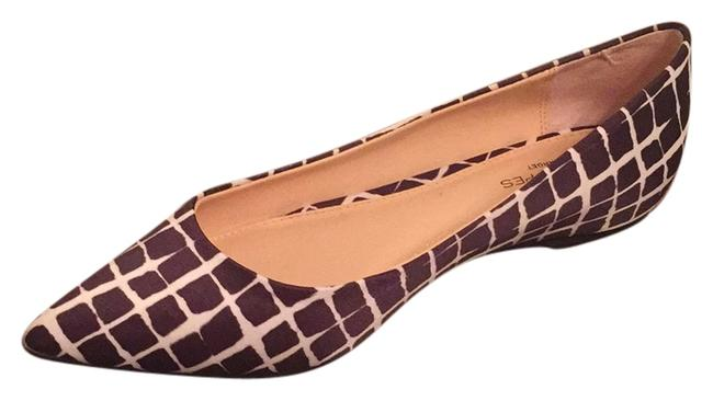 Item - Brown and White Plaid Pointed Toe Ballet Flats Size US 9 Regular (M, B)