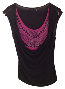 Guess Sequin Party Zippers Top Black and Fuchsia