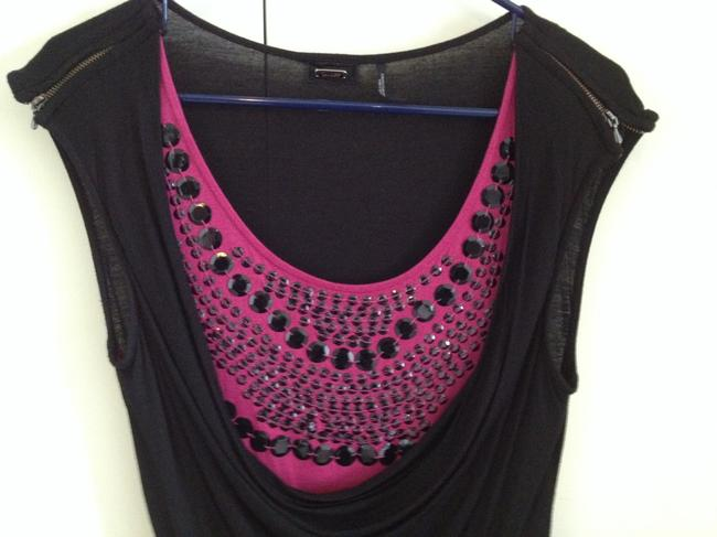Guess Sequin Party Zippers Fun Girl's Top Black and Fuchsia