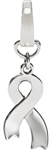Fossil Fossil Silvertone Breast Cancer Awareness Ribbon Charm Silvertone