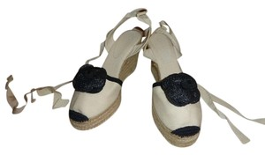 Chanel off white & black espadrilles Sandals
