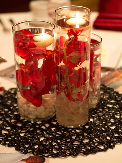 3 Tier Red Orchid Centerpieces