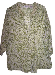 White Stag Button Up Dress Top GREEN AND WHITE PATTERN