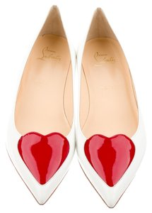 Christian Louboutin White Leather Patent White, Red Flats