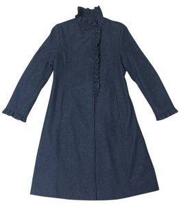 DKNY Ruffle Wool Pea Coat