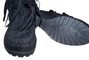 NATURES BLANCE Fringed BLACK Boots