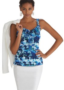 White House | Black Market Floral Ruffle Top blue