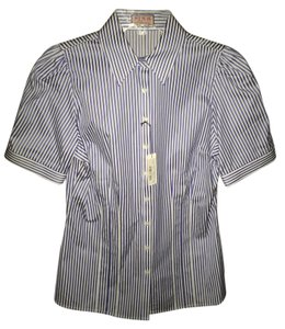 Thomas Pink Italian Cotton Short Sleeve New With Tags Button Down Shirt Blue/White