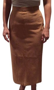 Calvin Klein lambskin suede mid length skirt. Fully lined. Size 6 but fits like a size 4. Skirt