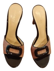 0e38e812a22d Anne Klein Patent Leather Woven Heel Designer Dark Brown and Light Brown  Mules