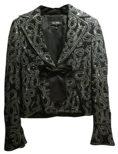 Escada Bow Evening Silk Embellished Black Jacket