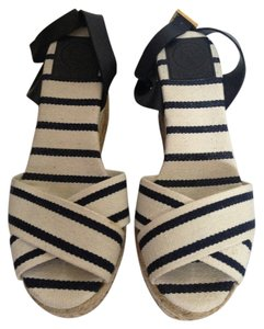 Tory Burch Wedge Navy and White Espadrille Wedges
