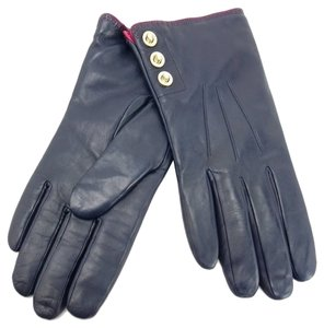 Coach COACH Park Leather Turnlock Gloves F85162 Navy with magenta trim size 7