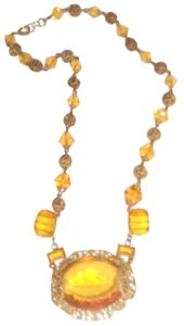 Other Large Yellow Glass Stone Vintage Gold Tone Necklace 15