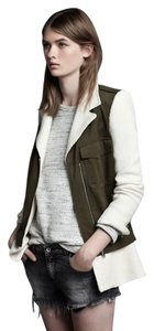 Zara Olive Two-tone Moto Military Jacket