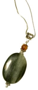 Moss Agate & Tiger's Eye Pendant on Silver Necklace N163